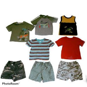 Lot of 8 Boys Shorts Shirts Stripes Tigers Dinos